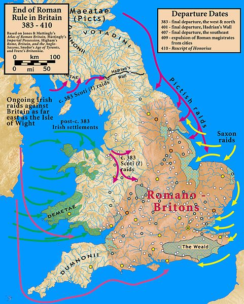 Map of Britain around the time the Romans leave