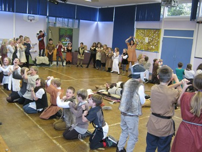 A warrior is buried in a Viking Ship Burial at Capel St Mary Primary School