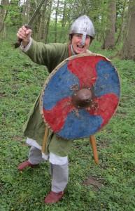 Viking School Visitor Thorhild Skarthisdottir (aka Jude Bloomfield), ready for battle